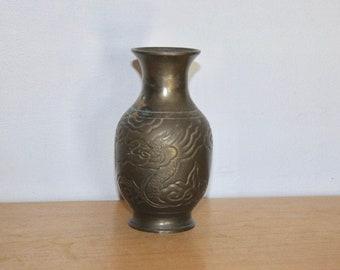 "Old Bronze Japanese Dragon Vase 5.25"""