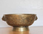 Chinese Brass Censer Bowl 7.5 quot w Foo Dog Lion Handles - Incised Dragon- Ming Xuande Reign Mark _ Old Vintage or Antique Incense Burner