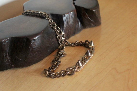 Punk Necklace Heavy Copper Brass Chain Spiked Chok