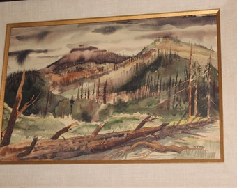 "C. Faust Mountain Wilderness Watercolor Wood Framed -  28x22""  Linen Matting - Nature Landscape"
