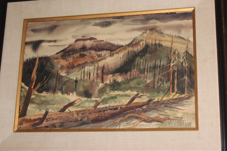 Paintings 1950's Watercolour Painting In Frame Of An Alpine Scene