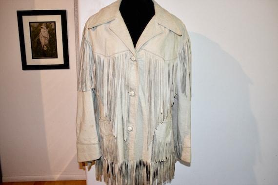 Vintage White Buckskin Leather Fringe Jacket - Wom