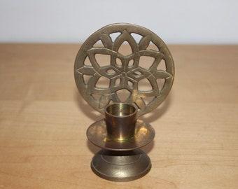 Vtg Brass Mandala Candlestick - India Candle Holder