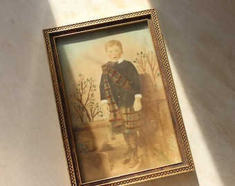 Scottish Lad Antique Hand Tinted Photograph - Kilt Boy Framed 6.5 x 4.5""
