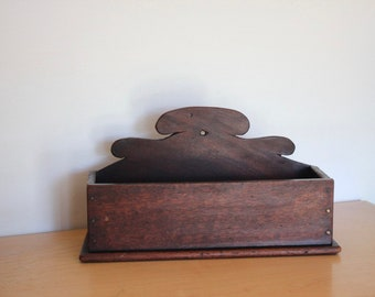Primitive Wood Wall Hanging Candle Box - Pantry Box or for Fireplace matches