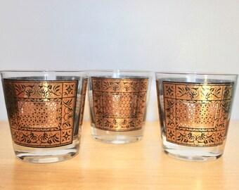 MCM Rocks Glasses Gold Black - 3 Mid Century Lowball Whiskey Glasses