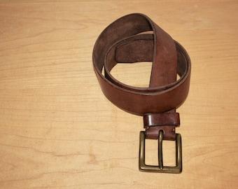 "Vintage Thick Italian Leather Belt w/ Heavy Metal Buckle - 30-34"" Waist 1980s Ralph Lauren"
