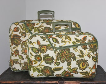 Mod Groovy Luggage Set of Two Suitcases - 1960s 1970s  - Canvas Flower Power Avocado Orange Gold