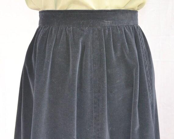 """Vintage Black 100% Cotton Velvet Skirt. 27"""" Waist.  High Quality, Full Lined, Thick Lux Velvet"""