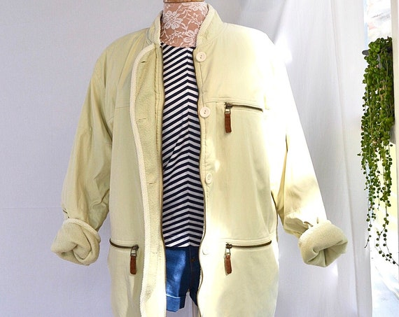 SALE***90's Adrienne Vittadini Microfiber Fleece Lined Winter Coat - Luxurious Soft Warm Comfy - Light Butter Yellow - Medium