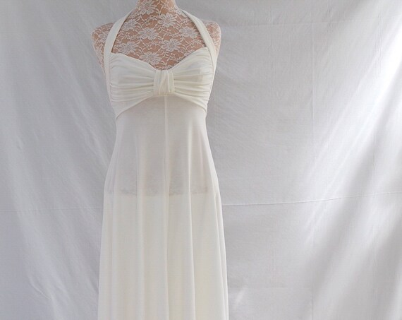 70's Creamy Shimmer Disco Prom Dress - Backless Halter - Gathered Bust - Marilyn Monroe - Sz SM