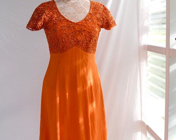 SALE* Vibrant Deep Orange Beaded Formal, Silk Chiffon, Summer Wedding, Short Sleeve Gown, Prom Dress. XS