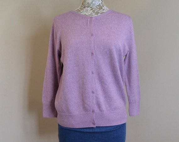 Lovely Lavender Cardigan - Super Soft & Stretchy - Japanese Vintage Preppy - Made by City Classics Tokyo - Medium