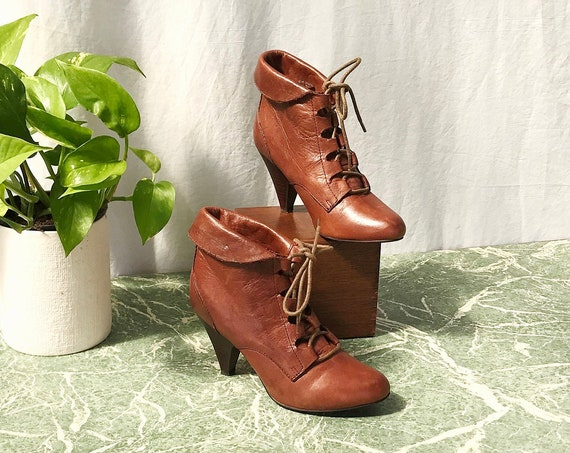 "Rich Russet Brown Leather Aldo Lace Up Ankle Boots - 3"" Heel - Thick Soft Leather - size 35"
