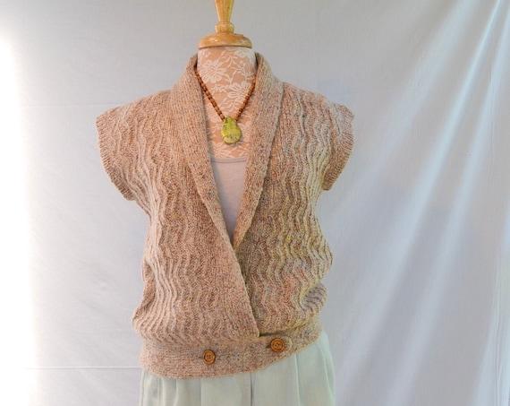 Vintage Katies Earthy Summer Jumper - Hippie Wool Blend Sweater Vest - Wooden Buttons - Aus 12 - Medium