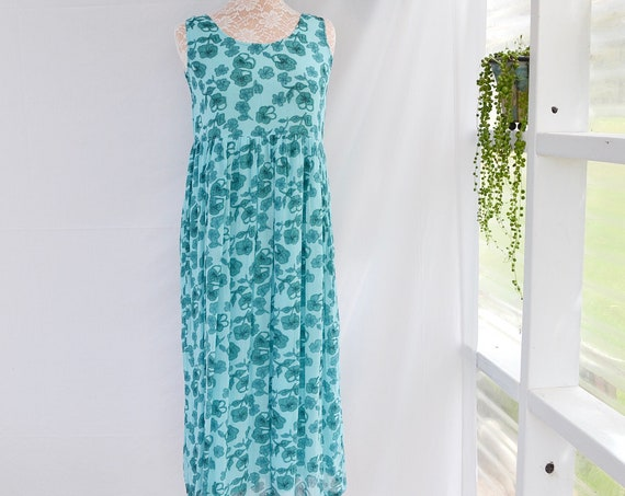 By the Seashore* Aqua Gauze Viscose Floral over Soft Cotton Lining.  90's Empire Waist Summer Dress.   XS