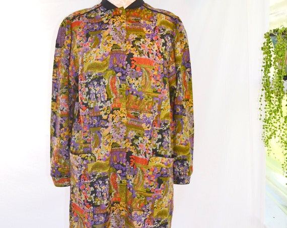 Vintage Fall Colours Long Sleeve Winter Dress. Short Shirt Dress w/ Front Pockets -   Med