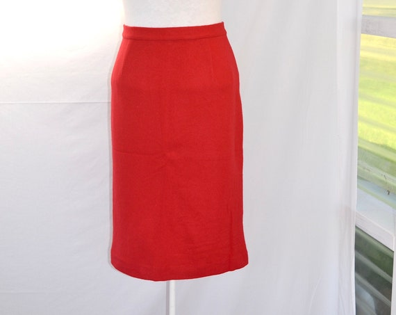 Vintage Angora Wool Blend Cherry Red Pencil Skirt - Fully Lined - Aus 12