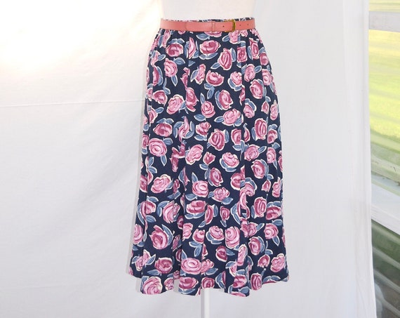 90's Cotton Floral Elastic Waist Jersey Knit Summer Skirt.  Abstract Mauve Roses on Navy Blue - Sz MED