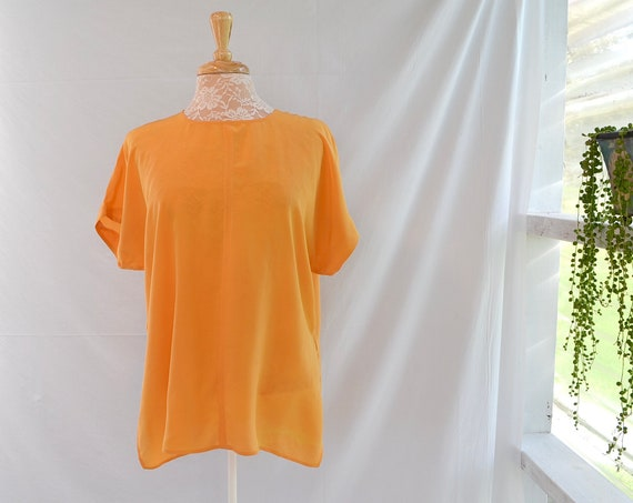 100% Silk Tangerine Tunic - Soft Marigold, Light Orange - Loose Fit Minimal - Small Medium