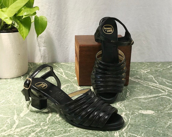 "Mod Vintage Homy Ped Strappy Sandals - Black Patent Leather - 2"" Heel -  Women's 5"