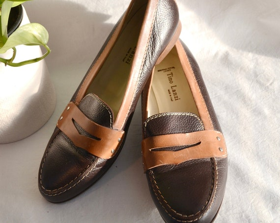 Vintage Tino Lanzi Chocolate Brown Leather Penny Loafers - Made in Italy - 90's Classic Preppy Slip-ons - 39