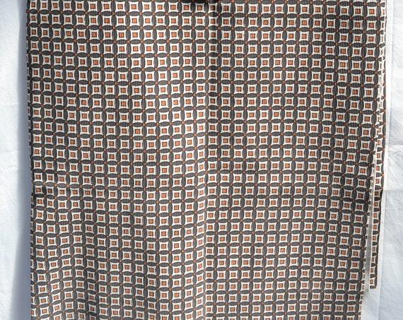 "1960's Mod Stretch Poly Fabric  - Mini Brown Squares Geometric - Super Stretchy - 140 cm - 55"""