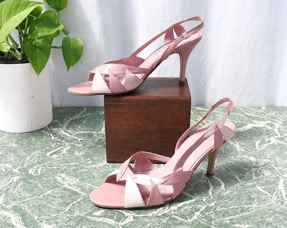 70's Scooter Secretary Slingback Heels - Pin Up Girl Pink Strappy Sexy Pumps - Costume - 7.5