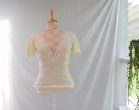 Vintage Cream Wool Long Camisole, Winter Warm Undershirt - Wool & Lace - Stretchy - Small Medium