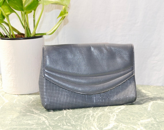 Vintage Glomesh in Rare Charcoal Grey Chain Metal Leather Clutch - 80's Sheik -  Gunmetal Grey - Iconic Made in Australia