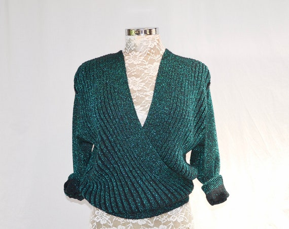 80's SPARKLE Deep V Wrap Front Sweater in Metallic Teal Knit - Beautiful Fancy Chic Party Pullover Jumper - Small Medium