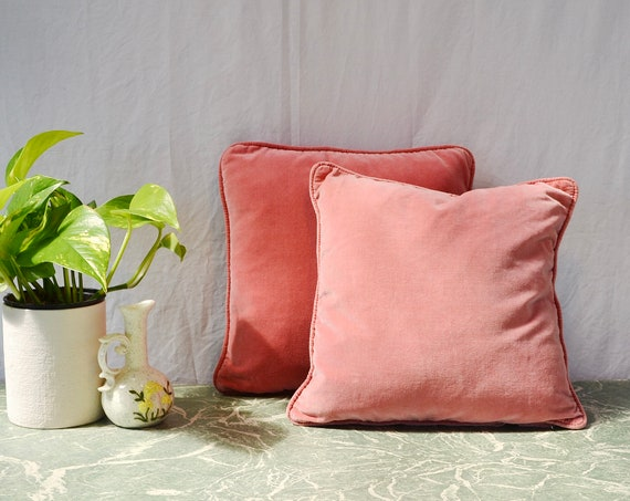Vintage Velvet Pillows in Romantic Mauve - Dusty Rose Cotton Velvet - 1960's Classy Granny..