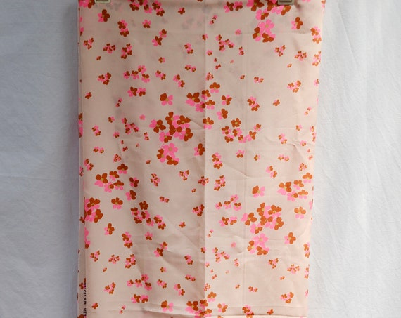 "60's MOD Silky Satin Polyester Fabric - Vintage Flowers - Bright Pink & Brown On Light Pink Background - 41"" x 43"""