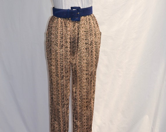 90's Mini Floral Silky Satin Trousers - Loose Comfort Elastic Waist, Front Pockets - Small