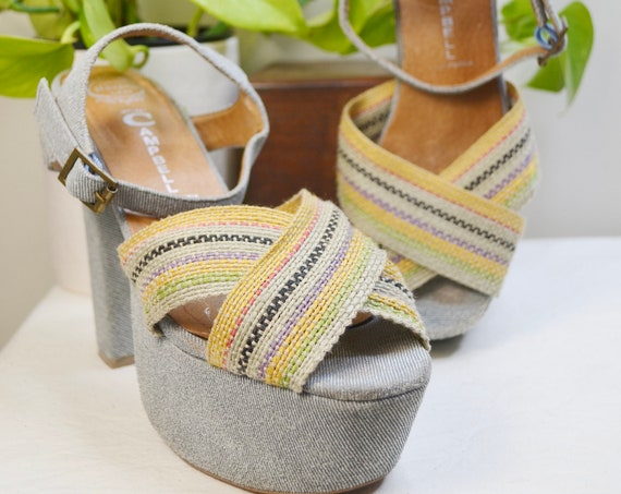 Jeffrey Campbell 70's Disco Platforms in Light Grey Denim & Jute Woven Linen Look - Gorgeous, Comfortable, Statement Shoes.  Size 7
