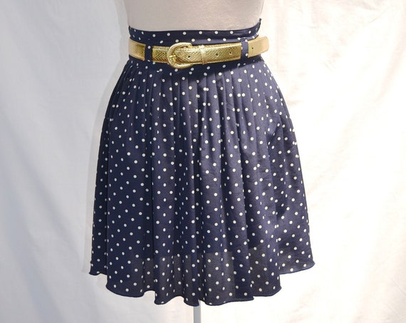 "Vintage Mini Pleated Polka Dot Skirt - Classic Preppy Navy & White Dots -Pleated Satin, Fully Lined + Belt Loops - 26"" Waist - AUS 10 - US 6"