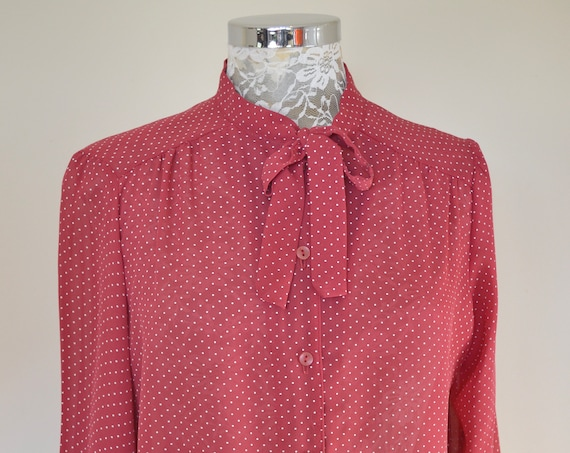 70's Sheer Bow Front Flouncy Blouse in Brick Red w/ Mini White Polka Dots - Sexy Secretary Fancy Blouse - Medium