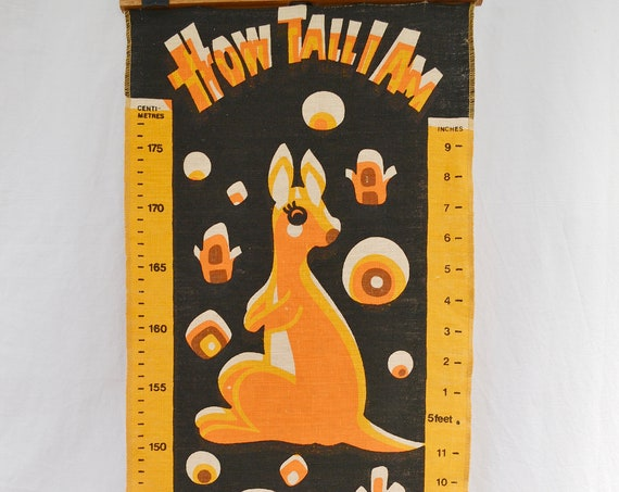 Wonderful Australiana Vintage Kids Height Chart - How Tall I AM? - Aussie Animals, Centimeters & Inches - VERY RARE, 100% Linen