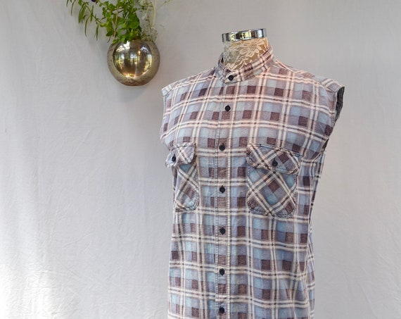 Plain Old Grunge Flannel - Trashy & Oh So Comfy! Worn Soft Thin 100% Cotton - Sleeveless No Collar - Unisex One Size Fits Most