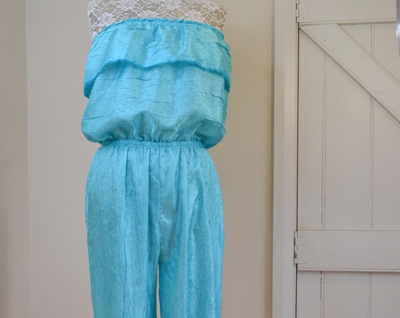 Handmade Vintage Strapless Jumpsuit in Turquoise Crinkle Satin - Aqua Beach Ocean Tropical  Island Style - Medium