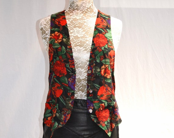 So Charming Vintage 90's Floral Vest - Red Multi Floral, Black Back w/ Ties - Made in Australia - Small, Med,  AUS 12, US 8