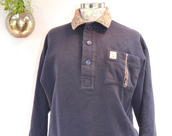 Vintage Navy Warm Wool Country Granny Baggy Pullover w/ Contrast Floral Cotton Collar & Cuffs -  Women's Small Medium