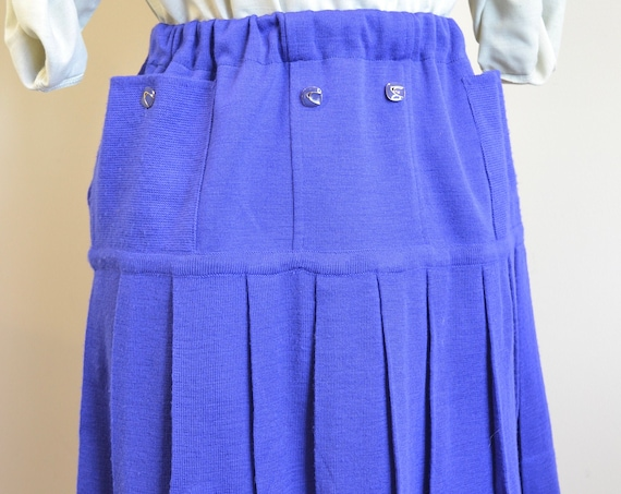 60's MOD Mini Skirt in Bright Royal Blue - Preppy Grannie Style w/ Pockets, Cute Buttons & Elastic Waist - One Size Fits Most