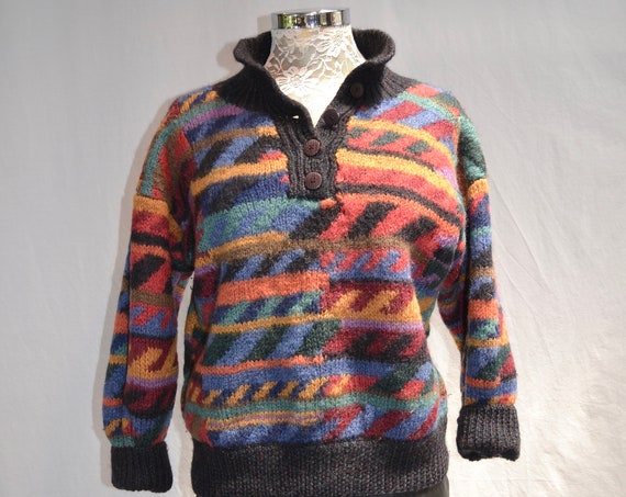 Geometric Heavy Woolly Knit Jumper sz M