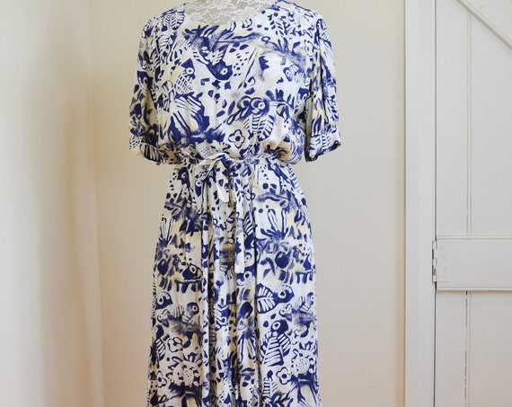 Vintage Handmade 90s Midi Dress in Navy & White Abstract Print on Softest Washed Rayon - Light and Flowing Casual Comfortable - Small