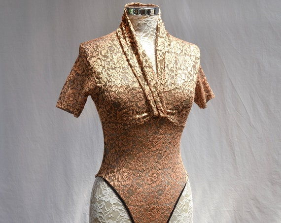 80's Gold Lace Bodysuit - Stretchy Floral Lace Short Sleeve Bodysuit - XS - Small