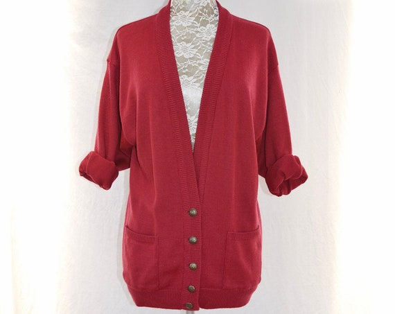 Vintage Simple Knit Granny Cardigan in Solid Burgundy Wine - Long Length, Front Pockets - Brass Buttons - One Size Fits Most