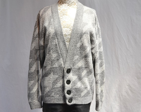 SALE** Grey & White Houndstooth Grandpa Baggy Cardigan Unisex * One Size Fits All