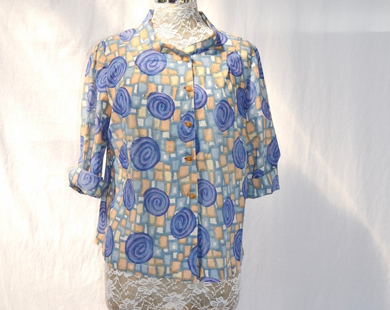 Handmade 60's MOD Thin Cotton A Line Crop Shirt - Abstract Shapes, Periwinkle & Pumpkin.  Cute Vintage Buttons - Medium