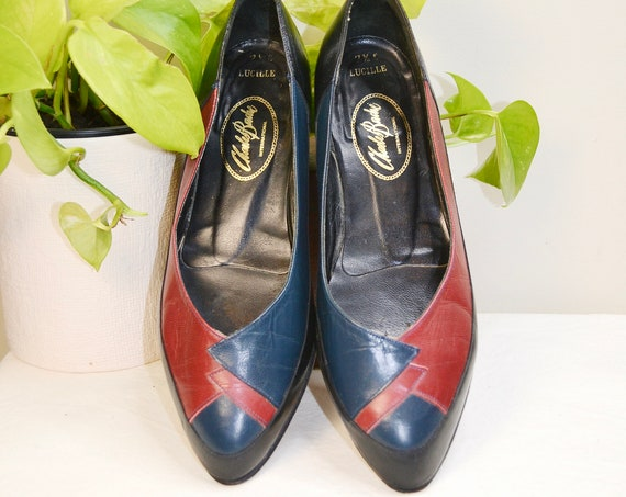 AS IS SALE* 80's Navy & Red Nerdy Granny Slip on Dress Flats by Charles Bache - Red Black Blue Leather Uppers - Size 7.5